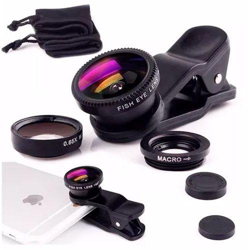 Kit Mini Objetiva 3x1 para Celular - Macro, GA e Olho de Peixe  - Diafilme Materiais Fotográficos