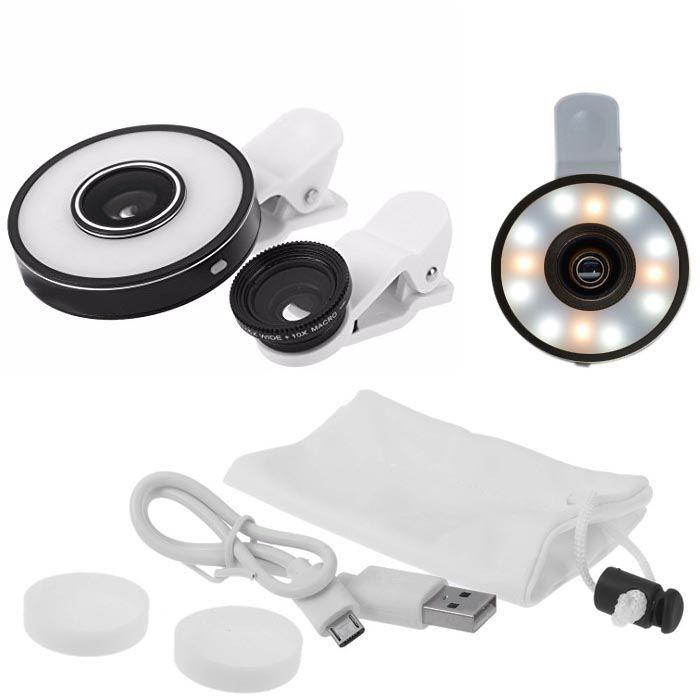 Kit Mini Objetiva Led Light 6x1 para Celular - Macro, GA e Olho de Peixe  - Diafilme Materiais Fotográficos