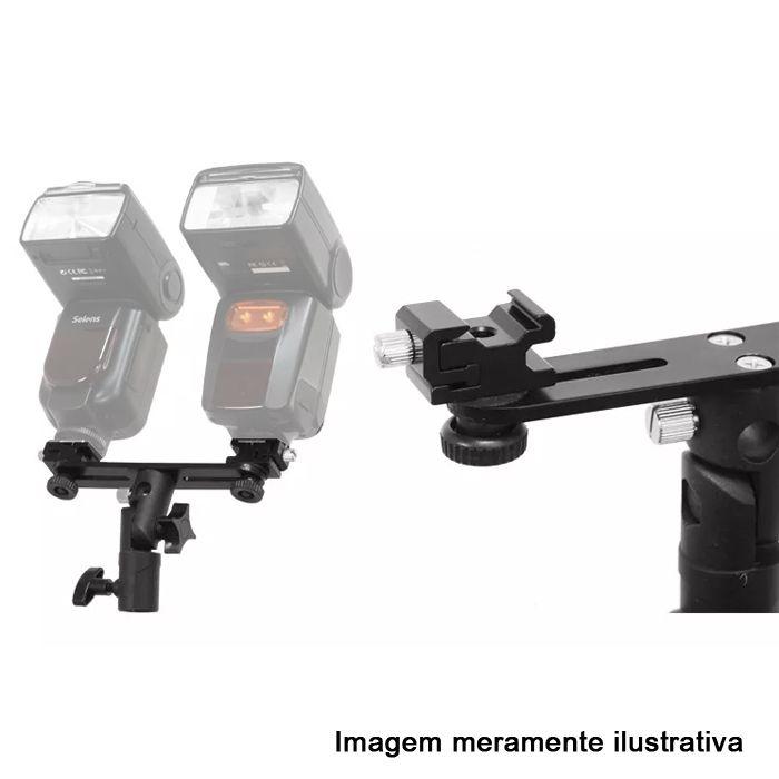 Kit Flash Speedlight - Tripe  Sombrinha Dourada Suporte Duplo Ls31  - Diafilme Materiais Fotográficos