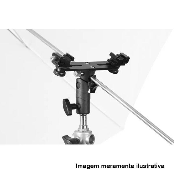 Kit Flash Speedlight - Tripe  Sombrinha Prata Suporte Duplo Ls31  - Diafilme Materiais Fotográficos