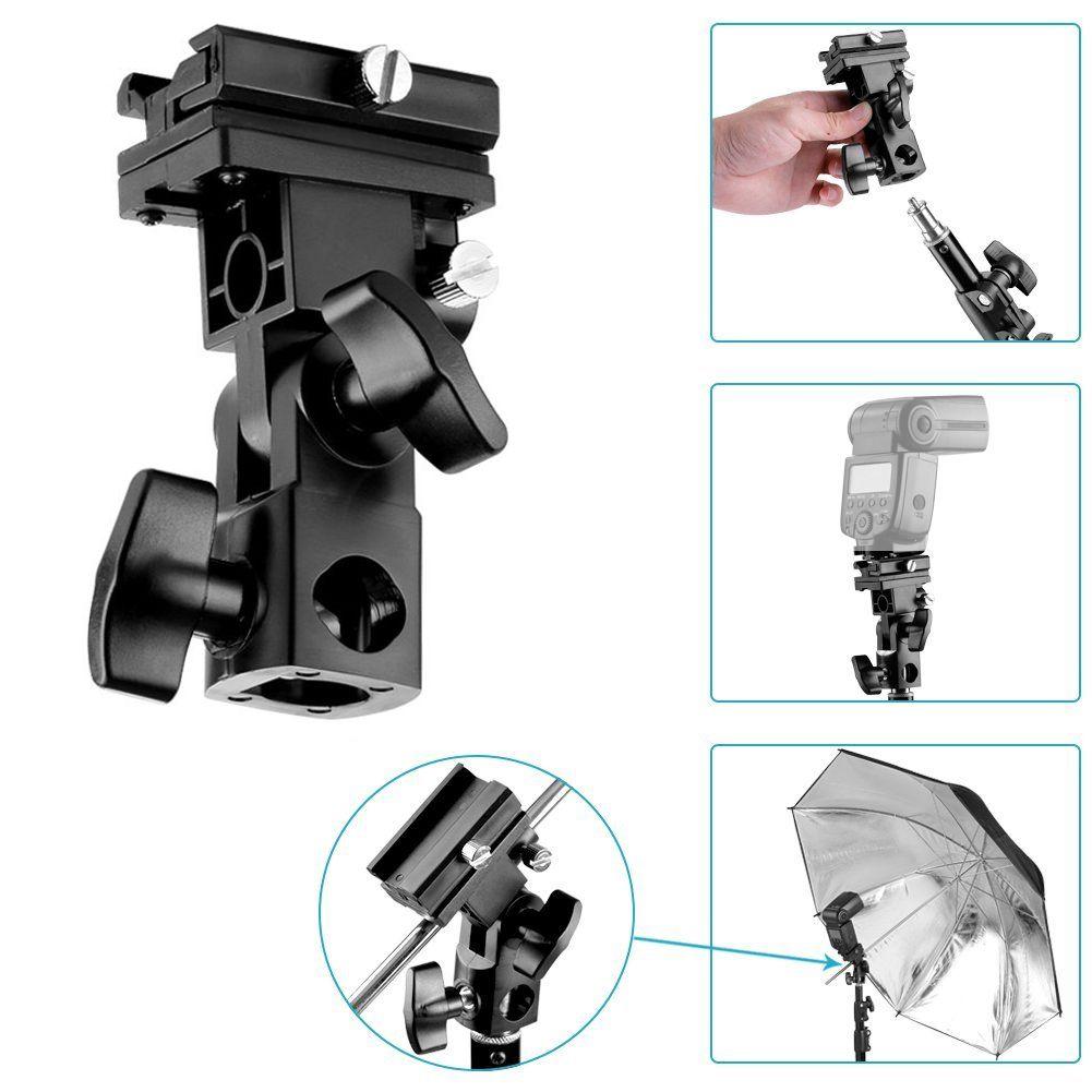 Kit Para Flash Speedlight c/ Tripe  Sombrinha Reb/Prata e Suporte Ls27  - Diafilme Materiais Fotográficos