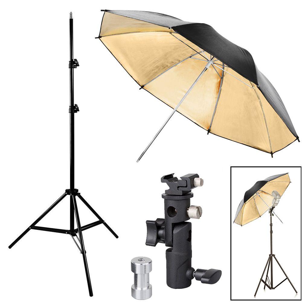 Kit Flash Speedlight - Tripe  Sombrinha Dourada Suporte Ls24  - Diafilme Materiais Fotográficos