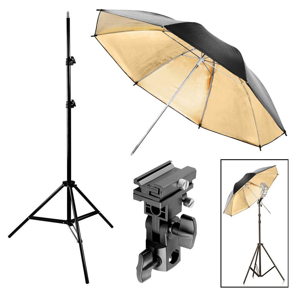 Kit Flash Speedlight - Tripe  Sombrinha Dourada Suporte Ls27  - Diafilme Materiais Fotográficos