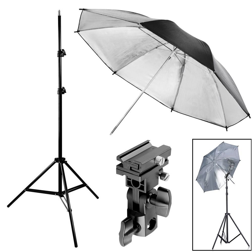 Kit Flash Speedlight - Tripe  Sombrinha Prata Suporte Ls27  - Diafilme Materiais Fotográficos