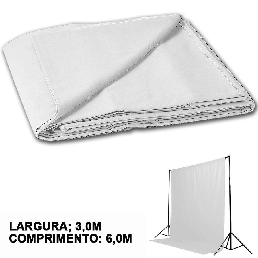 Kit Fundo Infinito Movel 2,50m com Fundo Muslin Branco 3,0x6,0m  - Diafilme Materiais Fotográficos