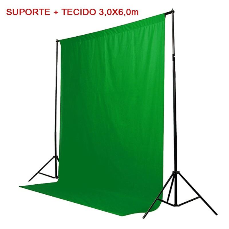 Kit Fundo Infinito Movel 2,50m com Fundo Muslin Verde 3,0x6,0m   - Diafilme Materiais Fotográficos