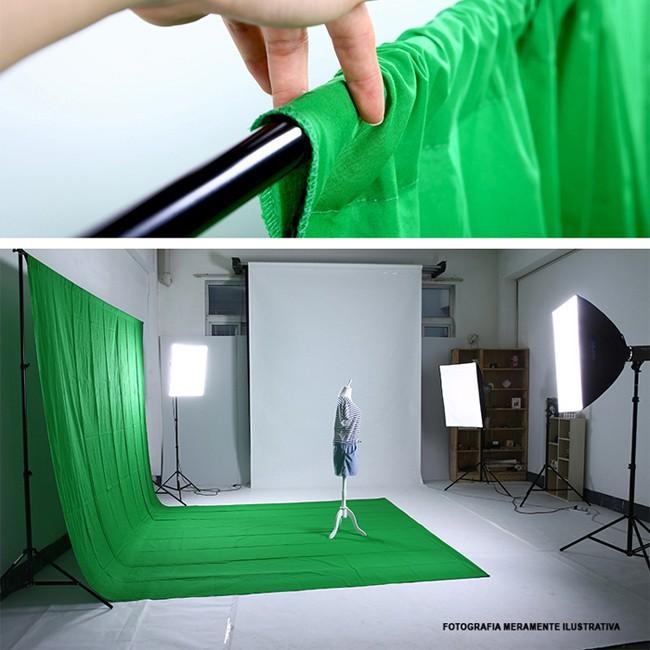 Kit Fundo Infinito Movel B2530 com Fundo Muslin Verde 3,0x6,0m   - Diafilme Materiais Fotográficos
