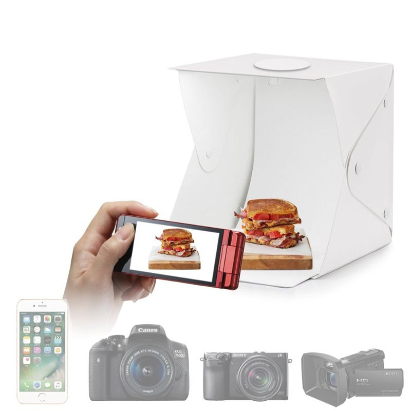 Mini Estúdio Fotográfico Portátil 40x40x40 - 70 LEDS  - Diafilme Materiais Fotográficos