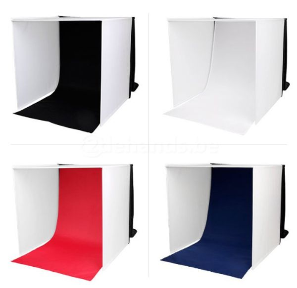 Mini Estúdio Fotográfico Portátil 60x60x60 - 2x5W LED e Placa Reflexão  - Diafilme Materiais Fotográficos