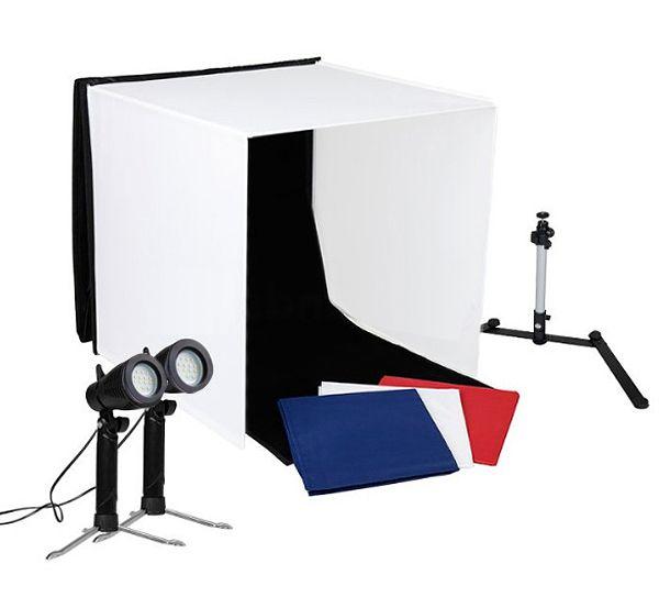 Mini Estúdio Fotográfico Portátil 60x60x60 - 2x5W LED  - Diafilme Materiais Fotográficos