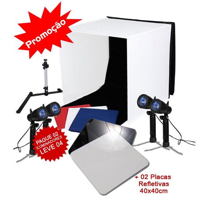 Mini Estudio Fotografico Portatil 60x60x60 - 4x50W c/Placa Reflexão  - Diafilme Materiais Fotográficos