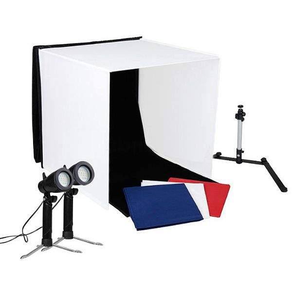 Mini Estúdio Fotográfico Portátil 60x60x60 - LED 2x5W  - Diafilme Materiais Fotográficos