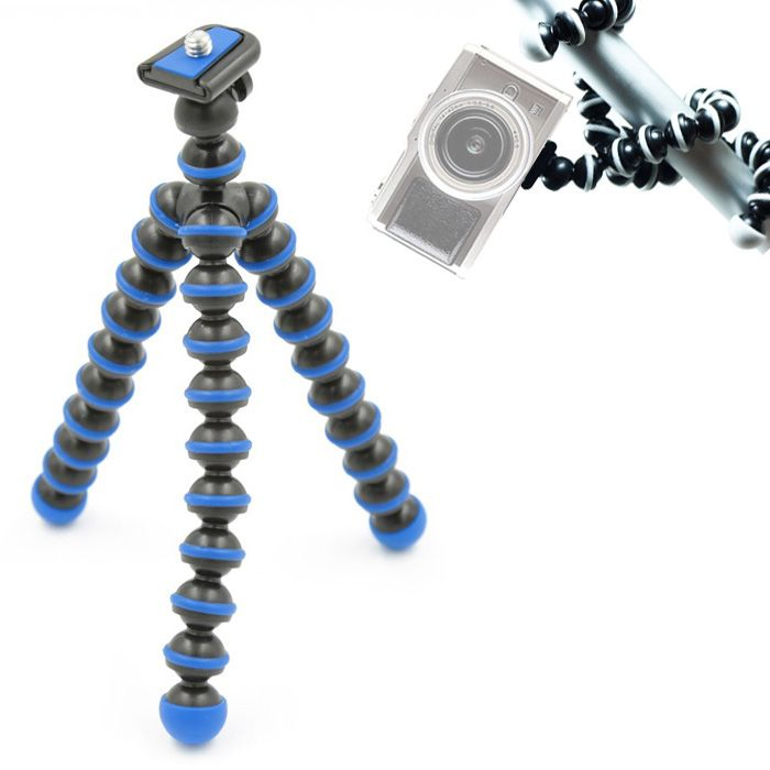 Mini Tripé de Mesa Flexível - TT813 - 26,5cm Azul  - Diafilme Materiais Fotográficos