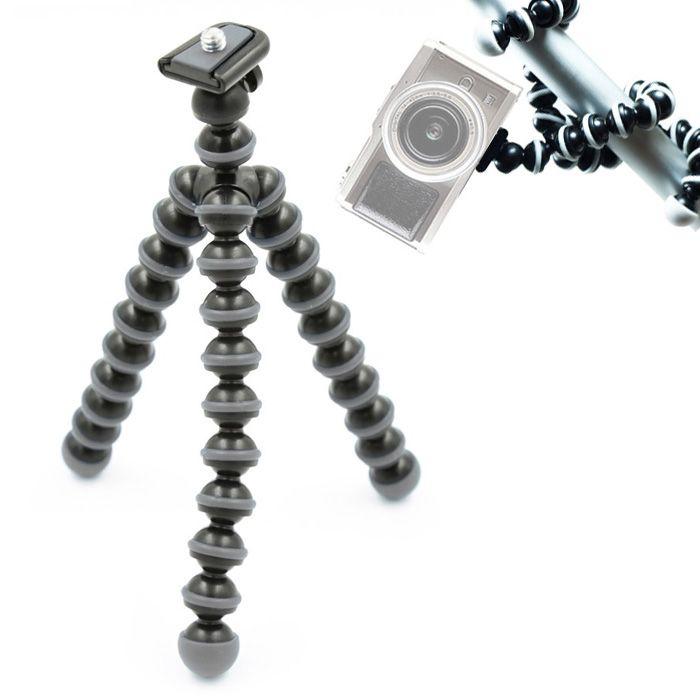 Mini Tripé de Mesa Flexível - TT813 - 26,5cm Cinza  - Diafilme Materiais Fotográficos