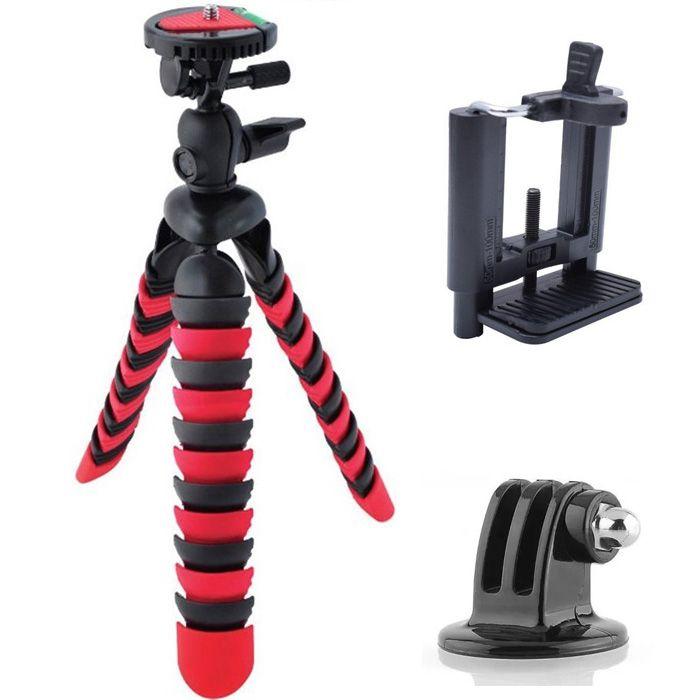 Mini Tripé Flexível Gopro Smartphone - TT281 - 28cm Vermelho  - Diafilme Materiais Fotográficos