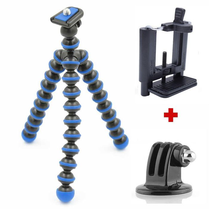 Mini Tripé Flexível GoPro Smartphone - TT813 - 26,5cm Azul  - Diafilme Materiais Fotográficos