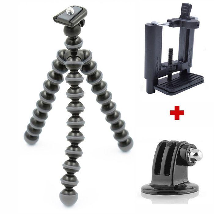 Mini Tripé Flexível GoPro Smartphone - TT813 - 26,5cm Cinza  - Diafilme Materiais Fotográficos
