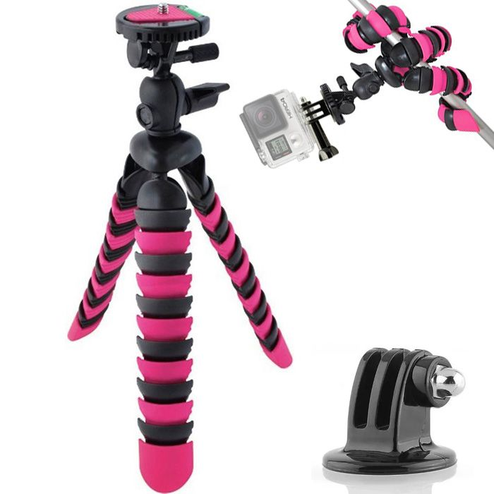 Mini Tripé Flexível Gopro - TT281 - 28cm Rosa  - Diafilme Materiais Fotográficos