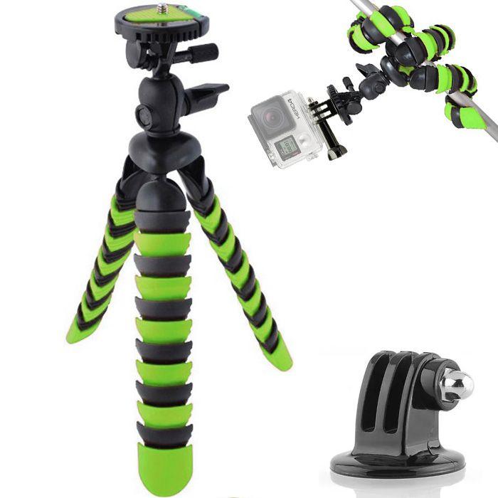 Mini Tripé Flexível Gopro - TT281 - 28cm Verde  - Diafilme Materiais Fotográficos