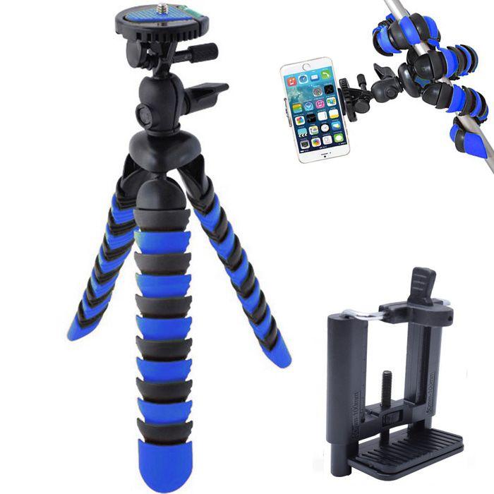 Mini Tripé Flexível Smartphone - TT281 - 28cm Azul  - Diafilme Materiais Fotográficos