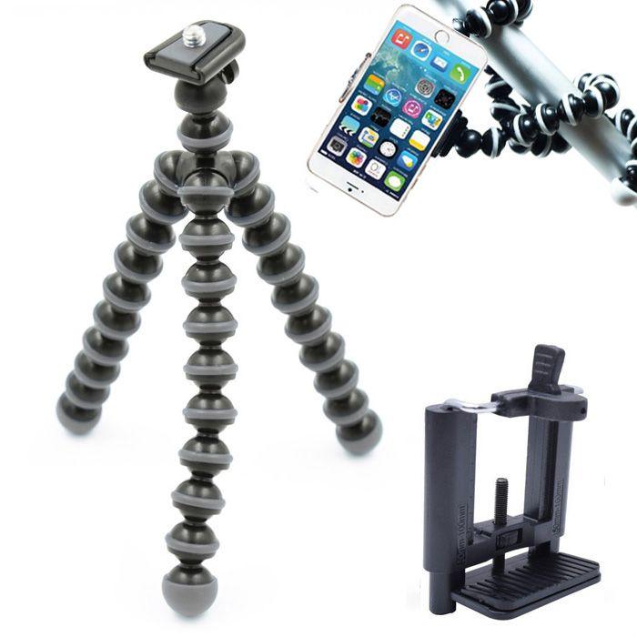 Mini Tripé Flexível Smartphone - TT813 - 26,5cm Cinza  - Diafilme Materiais Fotográficos
