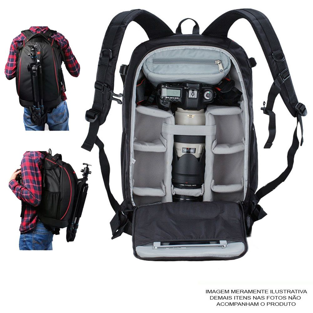 Mochila Câmera DSLR Filmadora Tablet - Caden K7 - C35xP22xA50cm  - Diafilme Materiais Fotográficos