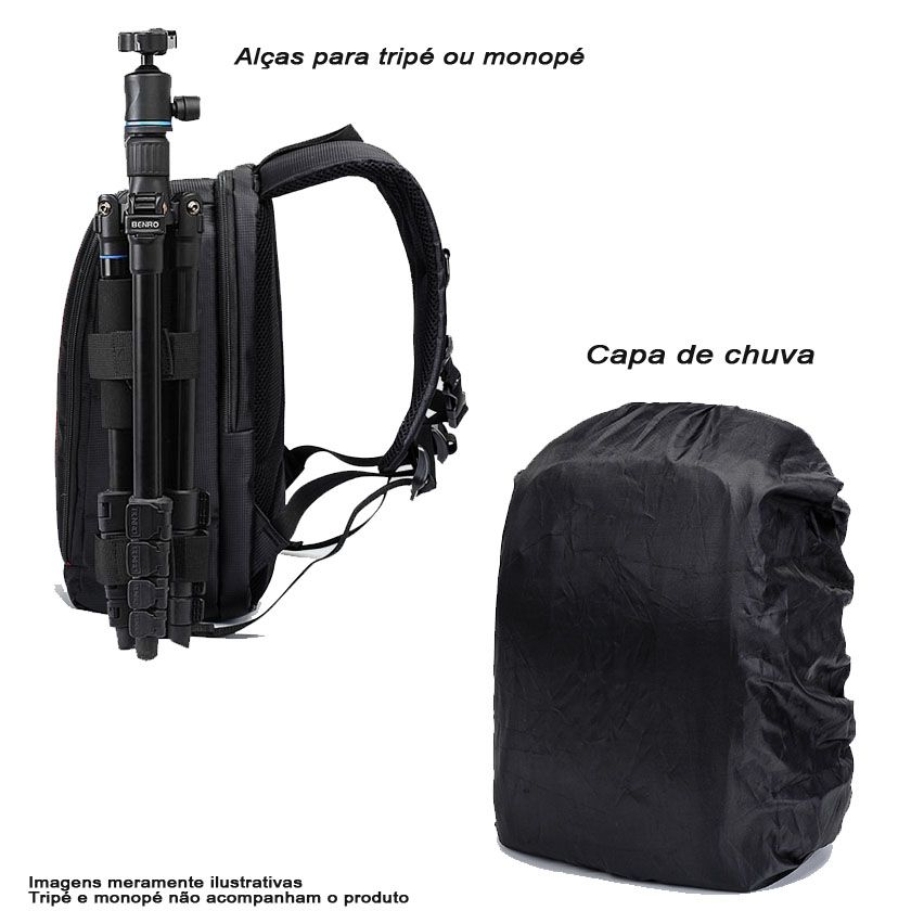 Mochila Câmera DSLR Vídeo Drone Laptop- ER 7491B - C30xP19xA43cm  - Diafilme Materiais Fotográficos