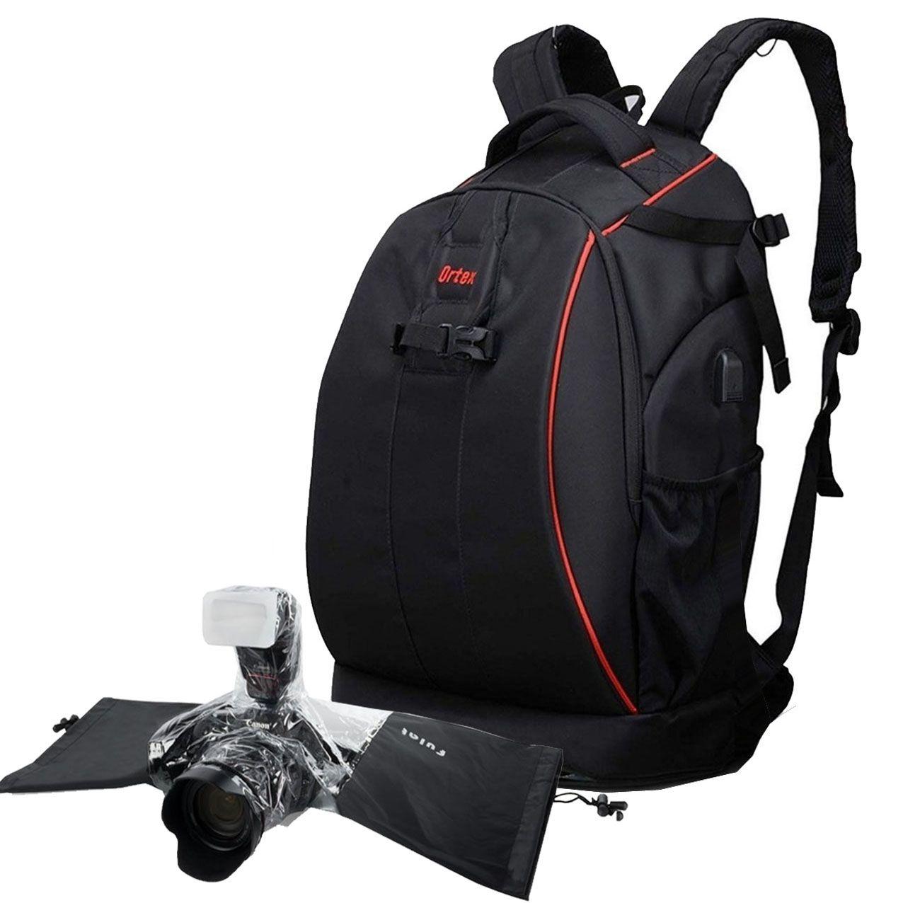 Mochila DSLR Filmadora Tablet - Ortex K7 com Capa de CHuva DSLR  - Diafilme Materiais Fotográficos