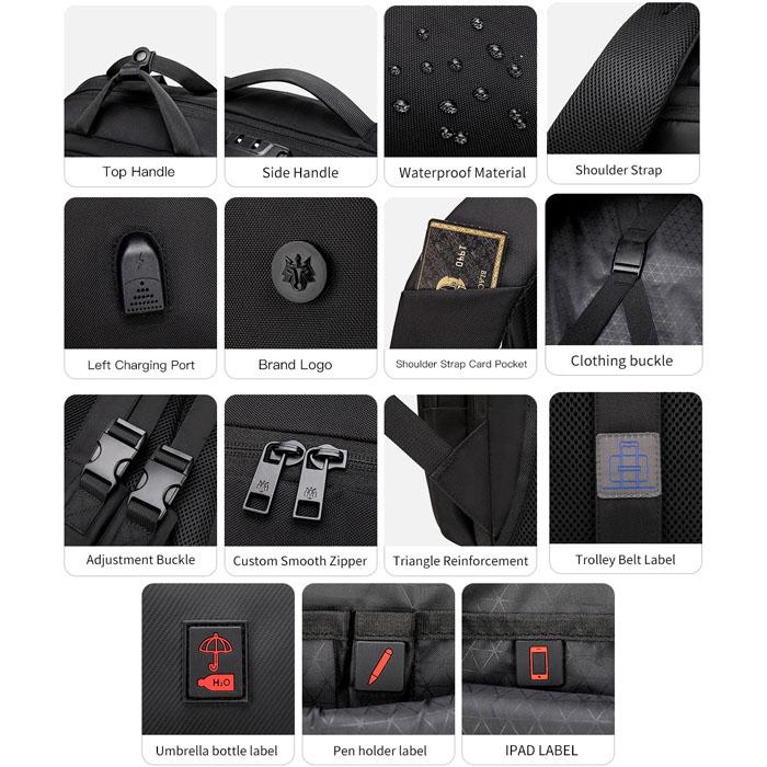 Mochila Notebook até 15.6 com entrada USB Antifurto Executiva - Golden Wolf GB00397 Grafite  - Diafilme Materiais Fotográficos