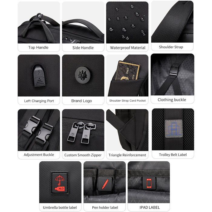 Mochila Notebook até 15.6 com entrada USB Antifurto Executiva - Golden Wolf GB00397 Preto  - Diafilme Materiais Fotográficos