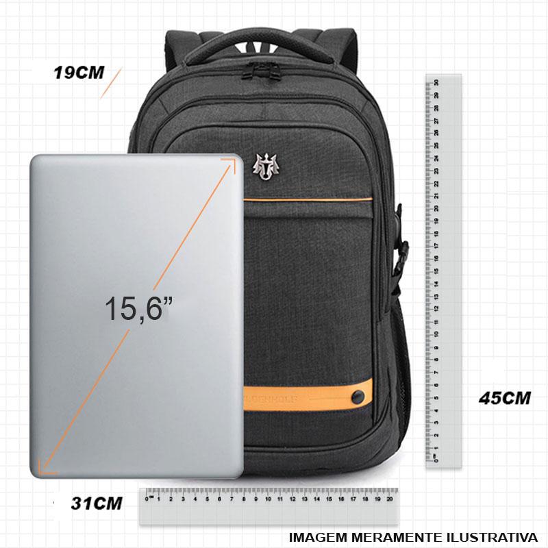Mochila Notebook até 15.6 com entrada USB - Golden Wolf GB00370 Cinza  - Diafilme Materiais Fotográficos