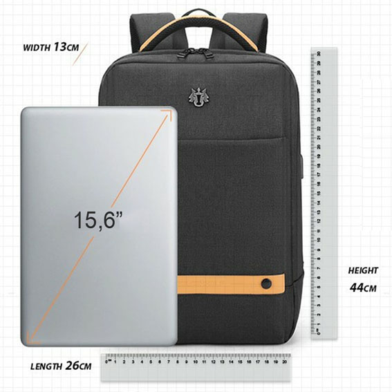 Mochila Notebook até 15.6 com entrada USB - Golden Wolf GB00378 Cinza  - Diafilme Materiais Fotográficos