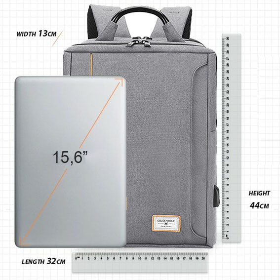 Mochila Notebook até 15.6 com entrada USB - Golden Wolf GB00379 Cinza  - Diafilme Materiais Fotográficos