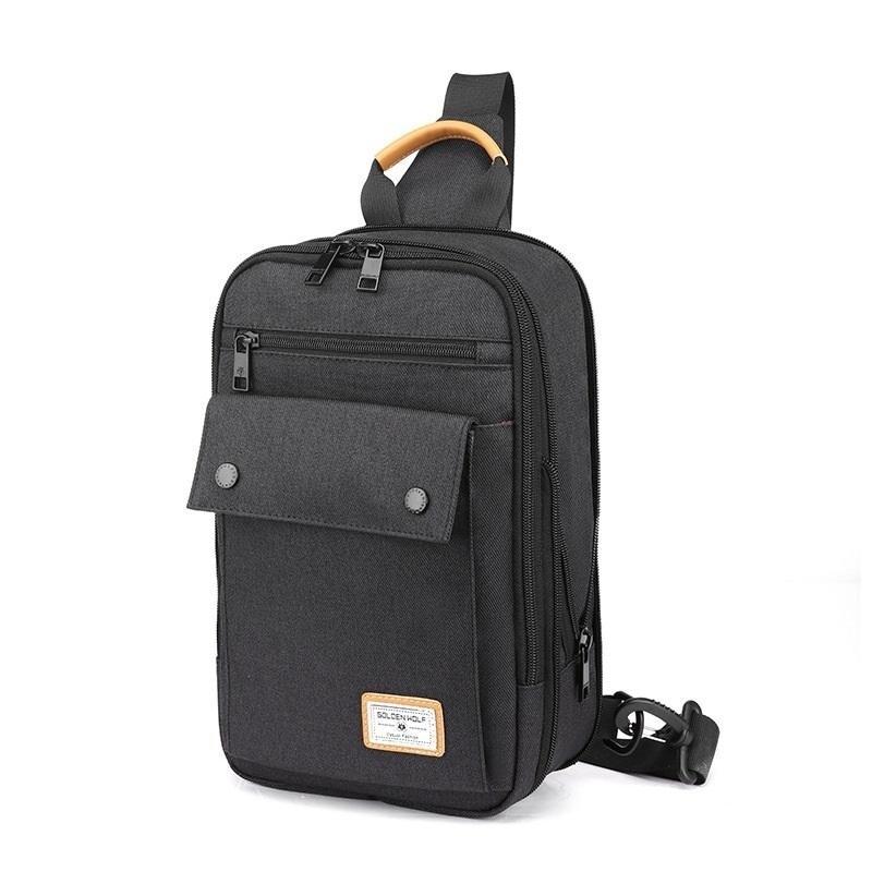 Mochila Tablet 11 entrada Fone Sling Bag - Golden Wolf GXB131 Preto  - Diafilme Materiais Fotográficos