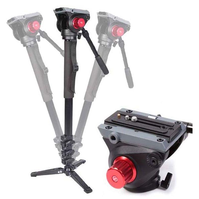 Monopé com Cabeça Fluida Câmera DSLR e Vídeo - Leadwin MKA-3424 - 1,88m  - Diafilme Materiais Fotográficos