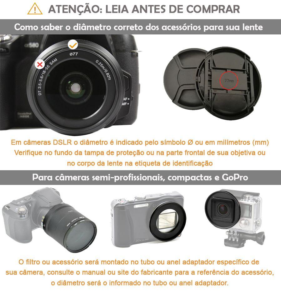 Parassol de Borracha 3Way para Objetiva DSLR - 55mm - G/A, Normal e Tele  - Diafilme Materiais Fotográficos