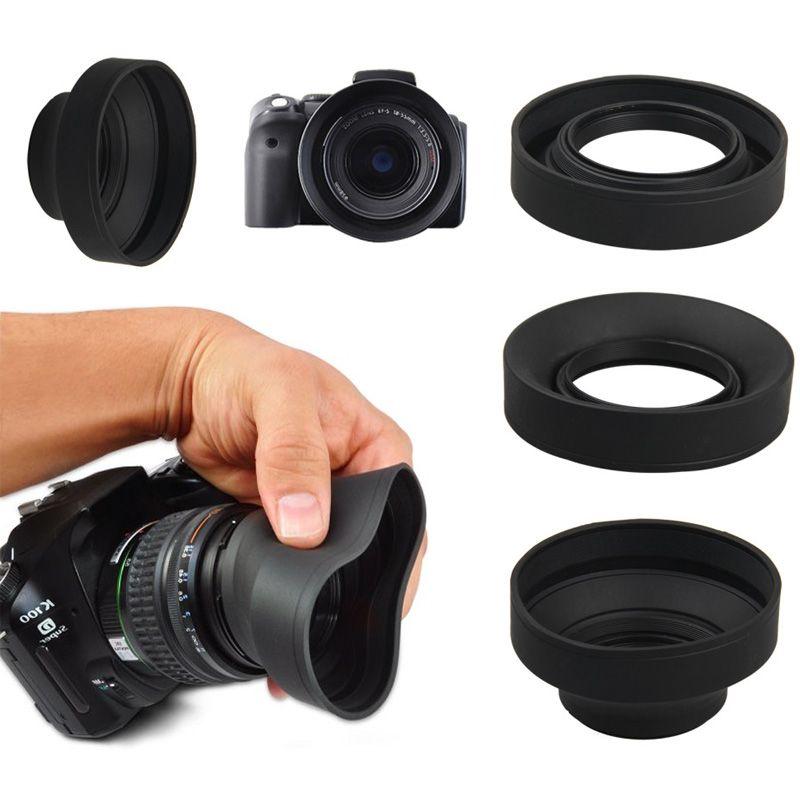 Parassol de Borracha 3Way para Objetiva DSLR - 58mm - G/A, Normal e Tele  - Diafilme Materiais Fotográficos