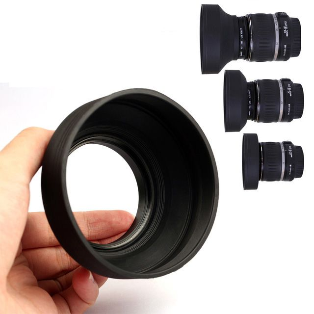 Parassol de Borracha 3Way para Objetiva DSLR - 82mm - G/A, Normal e Tele  - Diafilme Materiais Fotográficos