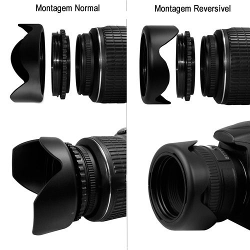 Parassol Tulipa Universal para Objetivas DSLR - 82mm  - Diafilme Materiais Fotográficos