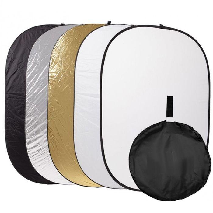 Rebatedor e Difusor Circular 5x1 para Estúdio - 100x150cm  - Diafilme Materiais Fotográficos