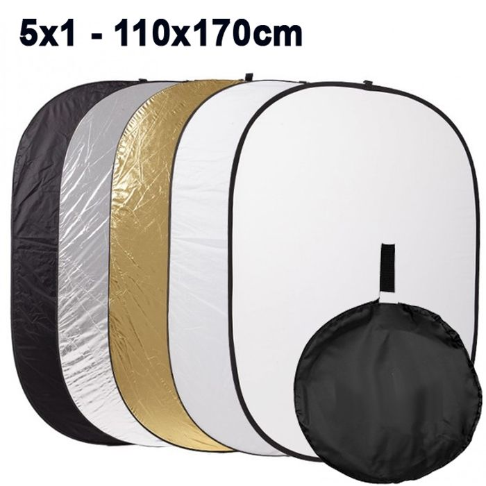 Rebatedor e Difusor Circular 5x1 para Estúdio - 110x170cm  - Diafilme Materiais Fotográficos