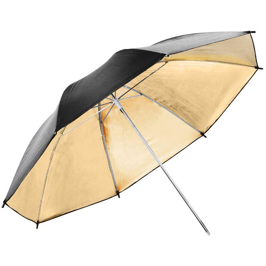 Sombrinha para Estúdio Fotográfico Rebatedora Dourada - 95cm Leadwin  - Diafilme Materiais Fotográficos