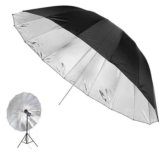 Sombrinha para Estúdio Fotográfico Rebatedora Prata - 145cm  - Diafilme Materiais Fotográficos