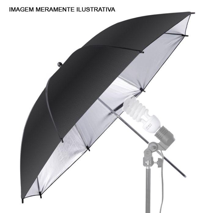 Sombrinha para Estúdio Fotográfico Rebatedora Prata com Tela Suavizadora - 95cm  - Diafilme Materiais Fotográficos