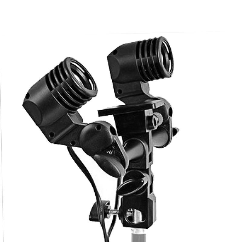 Suporte Articulado Duplo para Iluminação de Estúdio - Base E27  - Diafilme Materiais Fotográficos