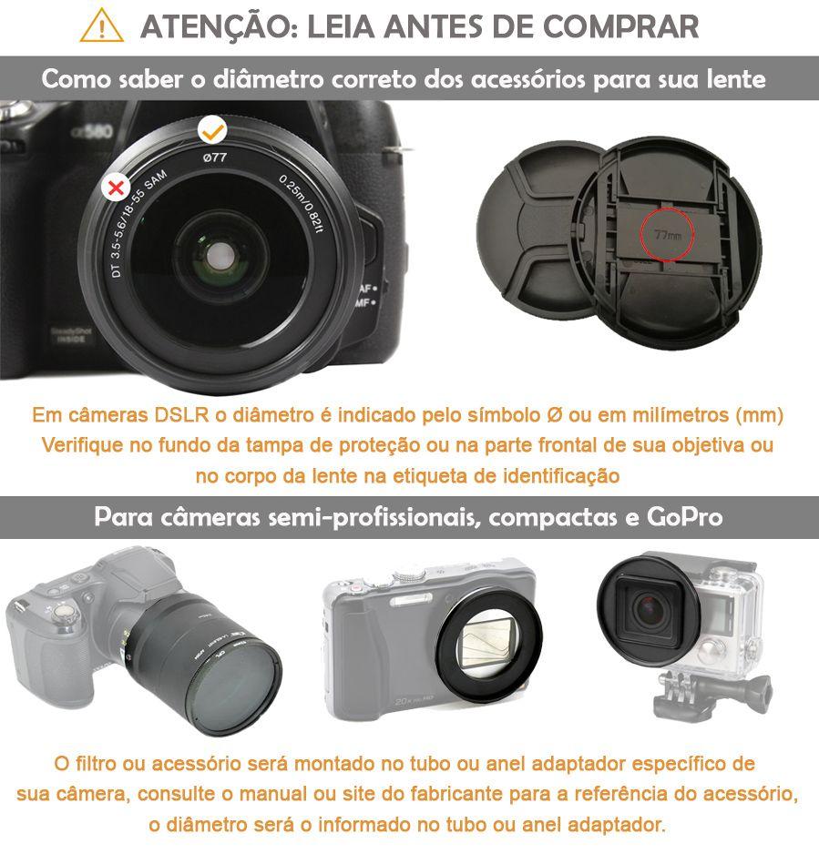 Tampa Frontal Snap On para Objetiva DSLR - 40,5mm  - Diafilme Materiais Fotográficos