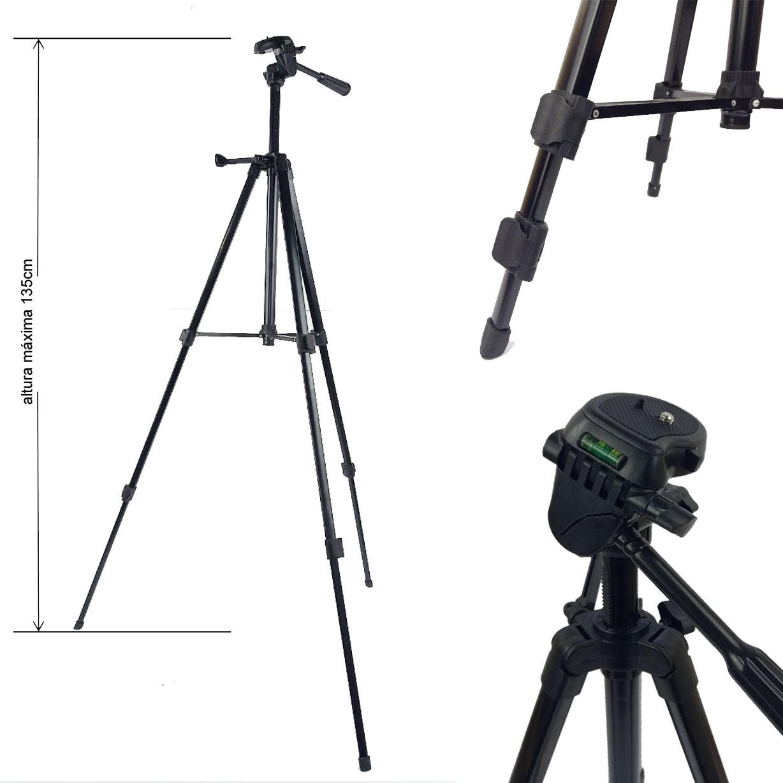 Tripé Câmera Foto Vídeo - Tefeng TF 330A - 1,35m  - Diafilme Materiais Fotográficos