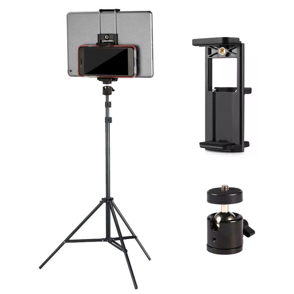 Tripé com Cabeça de Bola e Suporte para Tablet e Smartphone - 2,60m  - Diafilme Materiais Fotográficos