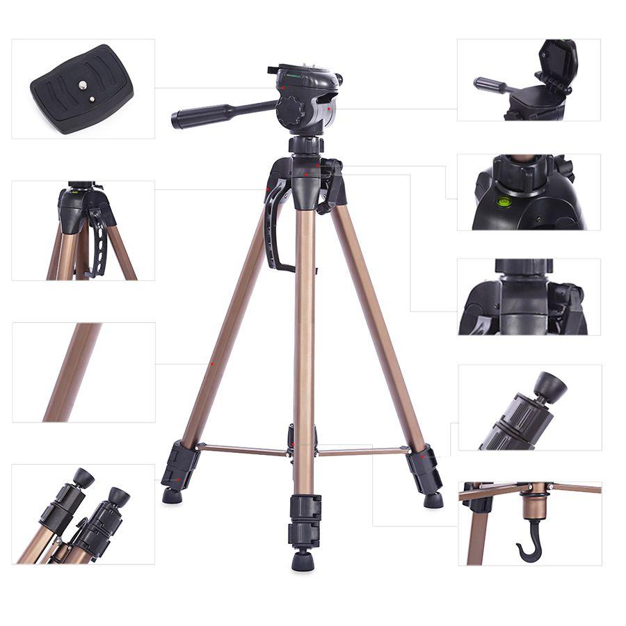 Tripé Câmera DSLR Vídeo - Weifeng WT 3750 - 1,60m  - Diafilme Materiais Fotográficos