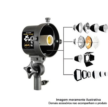 Tubo Base para Iluminação Fluorescente ou Led rosca E27 - Atek 010 Quad  - Diafilme Materiais Fotográficos
